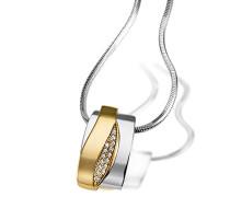 Kette mit Anhänger 585 Gelbgold und 925 Sterlingsilber mit Diamanten Brillanten Schmuck Diamantkette