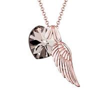 Kette mit Anhänger Herz Liebe Freundschaft Liebesbeweis Flügel Silber 925 Rose Vergoldet Swarovski Kristalle