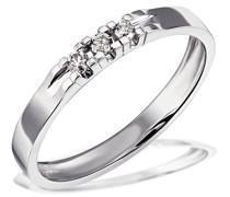 Ring Weiß Gold 585 3 Diamanten 0