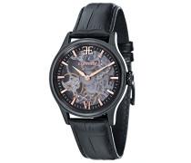 Bauer Shadow ES-8061-06 mechanische Armbanduhr, schwarzes Zifferblatt mit Skelett-Anzeige