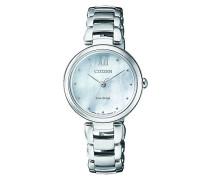 Analog Solar Uhr mit Edelstahl Armband EM0530-81D