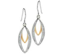 Ohrringe, silber- und goldfarben, für Damen, Marquiseschliff, Zirkonia