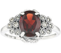 Ring 925 Silber vintage-oxidized Granat rot Markasit 50 (15.9) - L0043R/90/M2/50