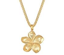 Elli Halskette mit Frangipani Blüten Anhänger in 925 Sterling Silber 45 cm lang