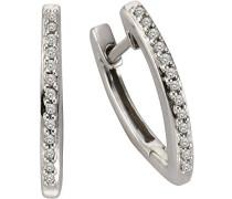 Creolen 925 Sterling Silber rhodiniert Diamant 0.10 ct weiß Brillantschliff 317210002