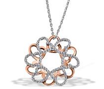 Kette mit Anhänger Herz Glamour 925 Sterlingsilber teilvergoldet 120 weiße Zikronia Herzanhänger