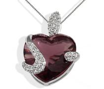 Herz-Halskette Herz 925 Sterlingsilber turmalinfarbener Zirkonia Herzanhänger