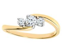 Damen-Ring 375 Gelbgold 3 Diamant 9 Karat