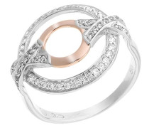 Ring Silber Vergoldet teilvergoldet Zirkonia Weiß Brillantschliff