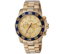 22227 Pro Diver - Scuba Uhr Edelstahl Quarz goldenen Zifferblat