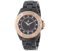 Armbanduhr für mit Analog Anzeige, Quarz-Uhr mit Keramik Armband - Wasserdichte Damenuhr mit zeitlosem, schickem Design - klassische
