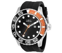 23473 Pro Diver Uhr Edelstahl Quarz schwarzen Zifferblat