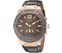 Analog - Digital Quarz Uhr mit Leder Armband C0001G2