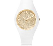 ICE glitter White Gold - Weiße Damenuhr mit Silikonarmband - 001352 (Medium)