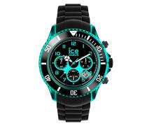 ICE Chrono electrik BK Turquoise - Schwarze Herrenuhr mit Silikonarmband - 013710 (Extra Large)