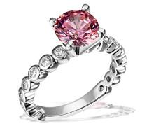 Ring 925 Silber rhodiniert pink Brillantschliff Zirkonia