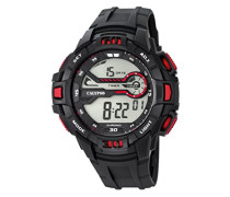 Digitale Armbanduhr mit LCD Dial Digital Display und schwarz Kunststoff Gurt k5695/5