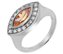 Ring 925 Sterling Silber mit Zirkonia Champagne