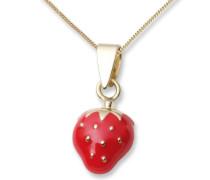 Kinderhalskette mit rot emaillierte Erdbeeren in 18ct/750 Gelbgold 45 cm MK011P