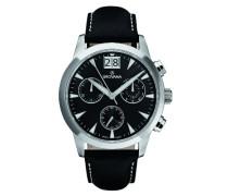 1722.9537 Men'Schweizer Quarz-Uhr mit schwarzem Zifferblatt Chronograph Anzeige und schwarzem Lederarmband