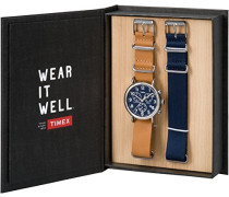 Erwachsene Chronograph Quarz Uhr mit Leder Armband TWG012800