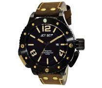 – j3610b-766 – Ontario – Armbanduhr – Quarz Analog – Zifferblatt schwarz Armband Leder braun