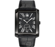 – 610988 – Armbanduhr – Quarz Analog – Zifferblatt schwarz Armband Leder schwarz