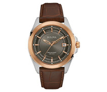 Precisionist 98B267 - Designer-Armbanduhr mit Roségold - Armband aus Leder
