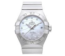 Constellation Koaxialkabel 27 Automatik Uhr mit Perlmutt Zifferblatt Analog-Anzeige und Silber Edelstahl Armband 12310272055002