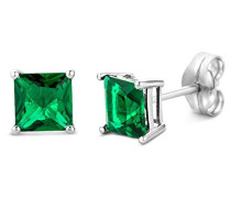 Emerald 9 kt (375) White Gold Stud Earrings for Women