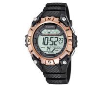 Armbanduhr Digitaluhr mit LCD Zifferblatt Digital Display und schwarz Kunststoff Gurt k5683/2