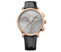 Chronograph Quarz Uhr mit Leder Armband 1513264