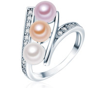 Silver Collection Ring Hochwertige Süßwasser-Zuchtperlen in ca. 6 mm Button weiß/apricot/flieder 925 Sterling Silber Zirkonia weiß Ringgröße 60 60201410