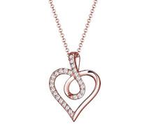 Kette mit Anhänger Infinity Herz Unendlichkeit 925 Sterling-Silber teilvergoldet Zirkonia weiß Facettenschliff 45 cm
