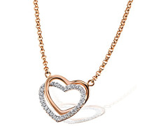Herz-Halskette 925 Sterlingsilber rot vergoldet weiße Zirkonia rosegold Herzanhänger