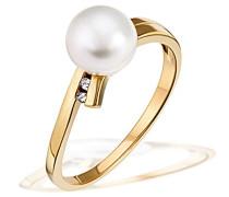 Ring Süßwasserperle 375 Gelbgold 2 Diamanten 0