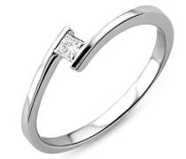 Ring Solitär Verlobungsring Weißgold 18 Karat/750 Gold Diamant Brilliant 0.10 ct