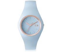 - ICE glam pastel Lotus - Blaue Damenuhr mit Silikonarmband - 001067 (Medium)