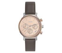 Chronograph Quarz Uhr mit Leder Armband JP101502013