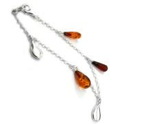 Ohrhänger, aus Sterling-Silber und Bernstein, tropfenförmig, Armband