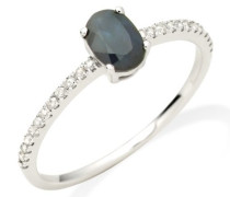Damen-Ring 375 Weißgold Saphir und Brillanten