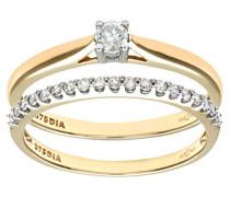 Damen-Ring 9 K 375 Gelbgold Diamant
