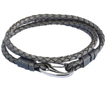 Unisex-Armband Edelstahl Leder 38 cm - 609070161