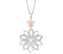 Kette 72+5cm mit Anhänger Blume Edelstahl veredelt mit Kristallen von Swarovski