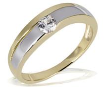 Gold 333 Bi-Color Ring grosser Zirkonia 4 mm