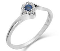 Ring 9 Karat (375) Weißgold Diamanten und Saphir 56 (17.8) SA937R6