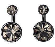 Ohrhänger Classic Messing- anthrazit- Kristall schwarz Rundschliff 1 cm - 611533123