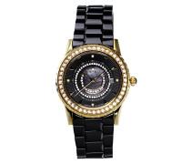 Armbanduhr Schwarz Analog Quarz Premium Keramik Diamanten - STM15Z6