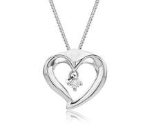 Kette - Halskette Kette mit Herz Weißgold 9 Karat/375 Gold Diamant Brilliant 0.03 ct 45 cm