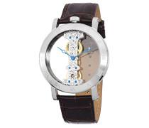 Armbanduhr für mit Analog Anzeige, Handaufzug-Uhr und Lederarmband - Wasserdichte Herrenuhr mit zeitlosem